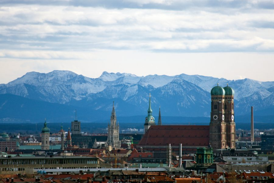 Munich Skyline and Alps, Germany.