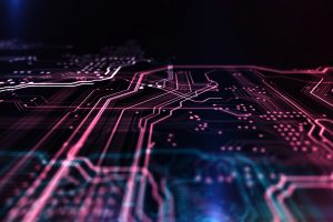 Technology background red and blue color, circuit board and code. 3d Illustration