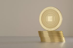 Stack of silver coins as example for virtual crypto currency and blockchain technology