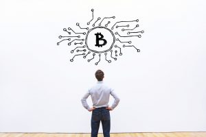 bitcoin business concept on white background